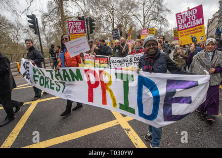 London, UK. 16th March 2019. Waltham Forest Pride banner on the march by thousands through London on UN Anti-Racism day to say 'No to Racism, No to Fascism' and that 'Refugees Are Welcome Here', to show solidarity with the victims of racist attacks including yesterdays Christchurch mosque attack and to oppose Islamophobic hate crimes and racist policies in the UK and elsewhere. The marchers met in Park Lane where there were a number of speeches before marching to a rally in Whitehall. Marches took place in other cities around the world including Glasgow and Cardiff. Peter Marshall/Alamy Live N - Stock Image