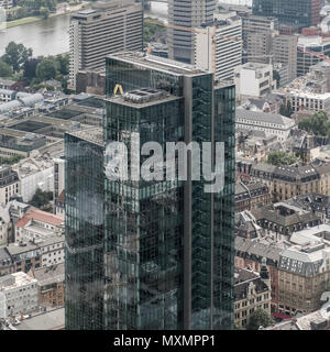 Aerial view of skyscraper office block known as Gallileo Tower, Gallusanlage, Frankfurt am Main, Hesse, Germany - Stock Image