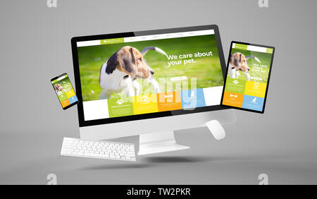 computer, tablet and smartphone showing architect studio responsive pet website with 3d rendering - Stock Image