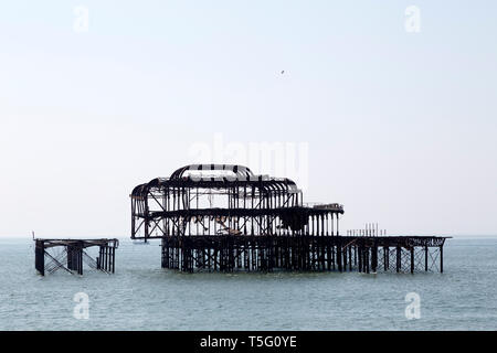 The West Pier at Brighton in East Sussex, England. The structure was built in 1866 and was damaged by fire in 2003. - Stock Image