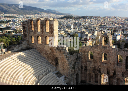 Amphitheatre at the Acropolis, Athens, Greece - Stock Image