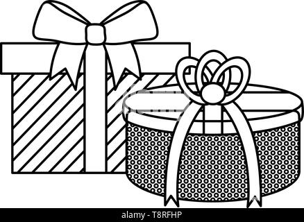 party gifts boxes presents vector illustration design - Stock Image