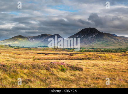 VIew across bog towards the Twelve Bens (Beanna Beola) mountain range of Connemara, from outside the village of - Stock Image