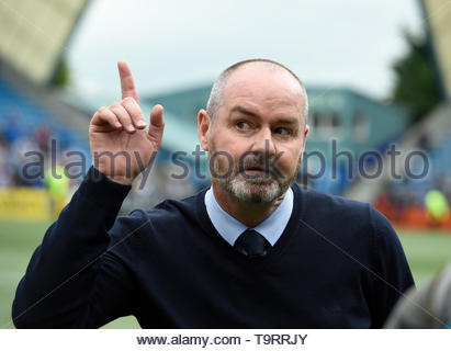 File photo dated 19-05-2019 of Kilmarnock manager Steve Clarke listens to the empty Rangers end of the ground after securing a European place for next season after defeating Rangers 2-1 during the Ladbrokes Scottish Premiership match at rugby Park, Kilmarnock. - Stock Image