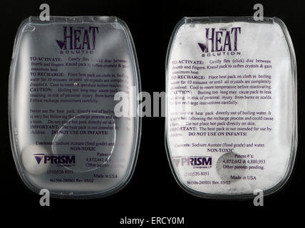 Instant re-usable heat pack made with sodium acetate.  Boil to recharge. - Stock Image