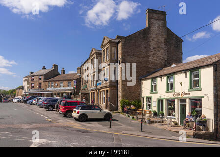 Main street Hawes. Yorkshire Dales. - Stock Image