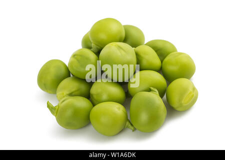 Fresh green peas group isolated on  white background. - Stock Image