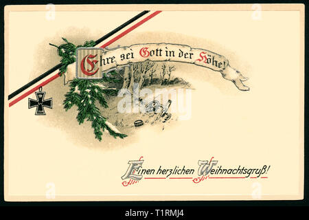 Germany, Bremen, WW I, propaganda, patriotic Christmas postcard with the text: 'Ehre sei Gott in der Höhe ! Einen herzlichen Weihnachtsgruß? '  ( Glory to God in the height ! Warmest Christmas greetings !) with an black-white-red ribbon an a Iron Cross, postcard sent 23. 12. 1914. , Additional-Rights-Clearance-Info-Not-Available - Stock Image