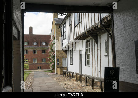 Old wood frame building in Benson Court in grounds of Magdalene college Cambridge 2019 - Stock Image