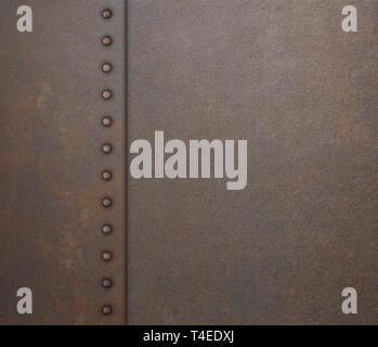 armor rustic plate with rivets metal background 3d illustration - Stock Image