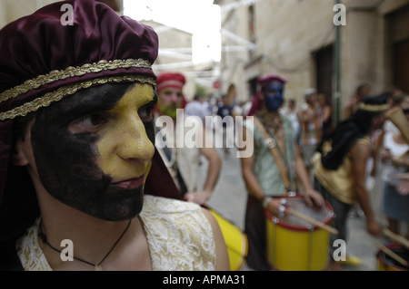 Portrait of a man partaking in the Battle of the Moors and Christians festival in Pollensa, Majorca, Spain. - Stock Image