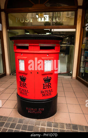Gibraltar, Main Street, British two slot red post mail box outside Post Office - Stock Image
