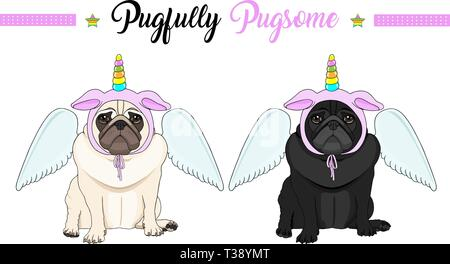 cute vector pug puppy dog sitting down, wearing pink bonnet with unicorn horn with rainbow colors and angel wings - Stock Image