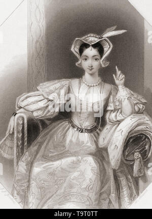 Princess Katherine.  Principal female character from Shakespeare's play King Henry V.  From Shakespeare Gallery, published c.1840. - Stock Image