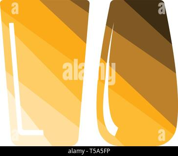Two glasses icon. Flat color design. Vector illustration. - Stock Image
