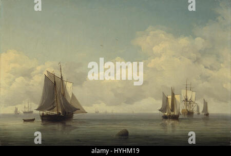 Charles Brooking   Fishing Boats in a Calm Sea   Google Art Project - Stock Image