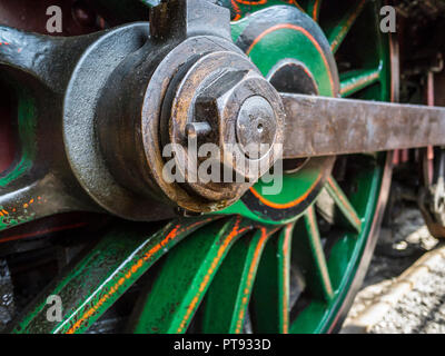 Steam train drive wheel and side rods - Stock Image