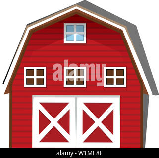 barn red farm wood architecture rural countryside illustration - Stock Image