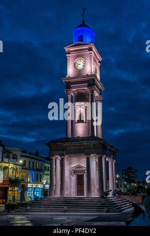 The Clock Tower,Illuminated,War Memorial,Seafront,Herne Bay,Kent,Coast,England,UK - Stock Image