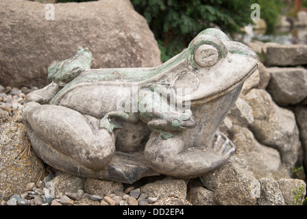 A content cement frog and offspring enjoying the Koi Gardens, Spokane, Washington State, USA. - Stock Image