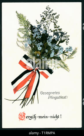 Lower Saxony, Duderstadt, WW I, propaganda, patriotic Whitsun postcard with the text: 'Blessed Whitsun !  Forget-me-not ! ' and a bunch of forget-me-not with a black-white-red ribbon, postcard sent 23. 05. 1915. , Additional-Rights-Clearance-Info-Not-Available - Stock Image