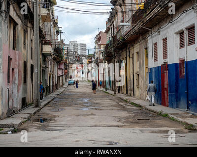 Dilapidated side street in need of urgent repairs, centre of Havana, capital of Cuba - Stock Image