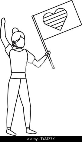 homosexual proud lesbian woman at protest holding lgtbi flag cartoon vector illustration graphic design - Stock Image