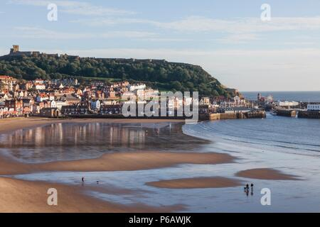 England,Yorkshire,Scarborough,Town Skyline and Castle - Stock Image
