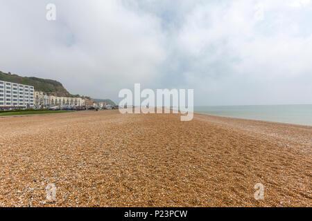 Empty Beach, Hastings, East Sussex, England , UK - Stock Image