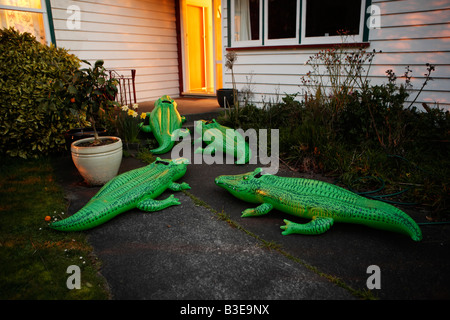 Inflatable crocodile series Suburbia - Stock Image