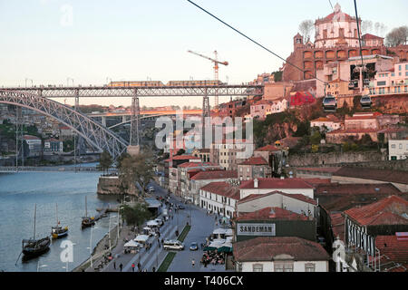 View of train on Dom Luis I Bridge from Aerial cable car Teleférico Vila Nova de Gaia in Porto Portugal Europe EU    KATHY DEWITT - Stock Image