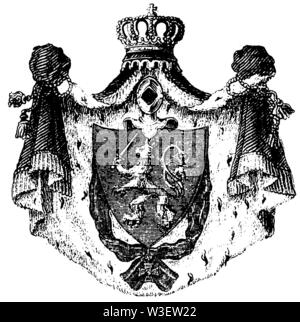 coat of arms of Hessen, ,  (cultural history book, 1875) - Stock Image