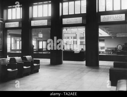 Interior view of the departure hall of the Berlin-Tempelhof Airport. - Stock Image