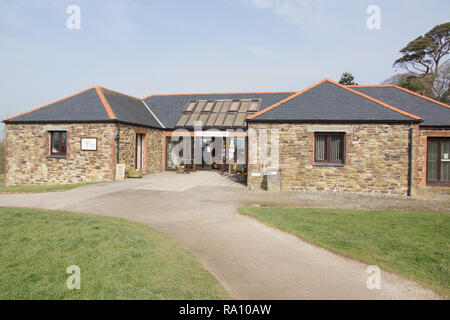 Lobbs Farm Shop at the entrance to the Lost Gardens of Heligan in Cornwall - Stock Image