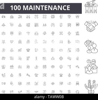 Maintenance line icons, signs, vector set, outline illustration concept  - Stock Image
