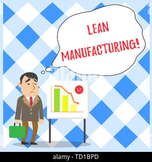 Word writing text Lean Manufacturing. Business photo showcasing Waste Minimization without sacrificing productivity Businessman Clerk with Brief Case  - Stock Image