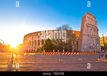 Colosseum of Rome sunset view, famous landmark of eternal city, capital of Italy - Stock Image