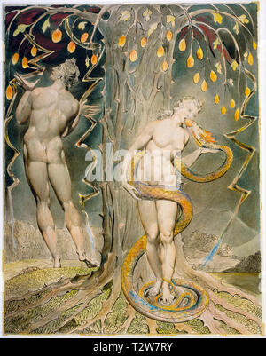William Blake, The Temptation and Fall of Eve, Adam and Eve painting, 1808 - Stock Image