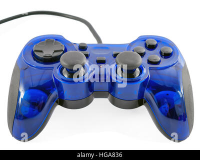 blue video game controller detail for console gaming isolated on white background - Stock Image