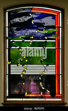 'Christmas', North aisle window by Brian Clarke. Christ Church, Thornton-le-Fylde, Lancashire, England, United Kingdom, Europe. - Stock Image