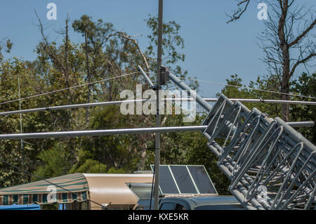 Beam antenna set up on a portable tower for ham radio field day operations. - Stock Image