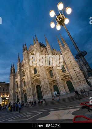 Vertical view of Milan Cathedral at night, Italy. - Stock Image