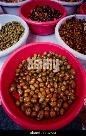 Spain. Figureres. Olives for sale on market stall. 2000 - Stock Image