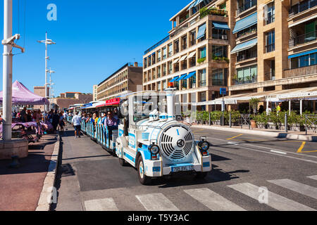 MARSEILLE, FRANCE - SEPTEMBER 23, 2018: The Little Trains of Marseille or Les Petits Trains  is a small tourist train in Marseille city in France - Stock Image