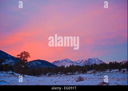 Winter Mountain Sunset - Stock Image