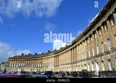 Royal Crescent, Bath England, wide low angle on a sunny day - Stock Image