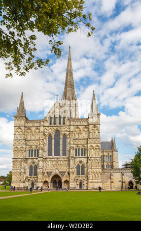 Front view of the West Front entrance to the iconic Gothic style Salisbury Cathedral, Salisbury, a cathedral city in Wiltshire, south-west England, UK - Stock Image