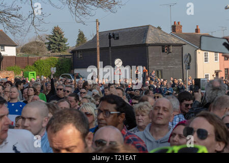 Braintree, UK. 29th Mar, 2019. funeral of Prodigy frontman Keith Flint at St Mary's Church in Bocking attended by hundreds of his fans Credit: Ian Davidson/Alamy Live News - Stock Image