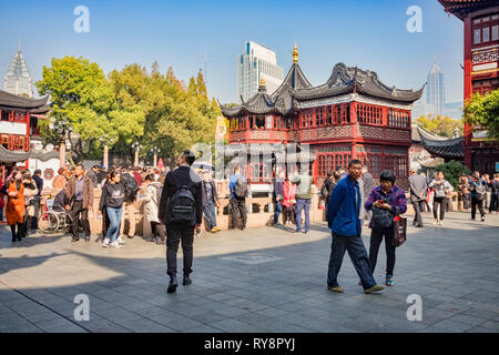 29 November 2018: Shanghai, China - Scene in the Old Town shopping area, a major visitor attraction. - Stock Image
