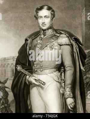Prince Albert, portrait engraving, holding scepter and hat, military uniform,  1847 - Stock Image